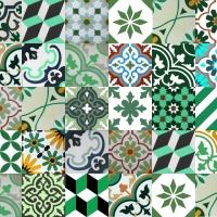 Gạch bông tổng hợp ngẫu nhiên tông màu xanh lá cây
