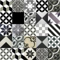 Gạch bông tổng hợp tông màu trắng xám đen